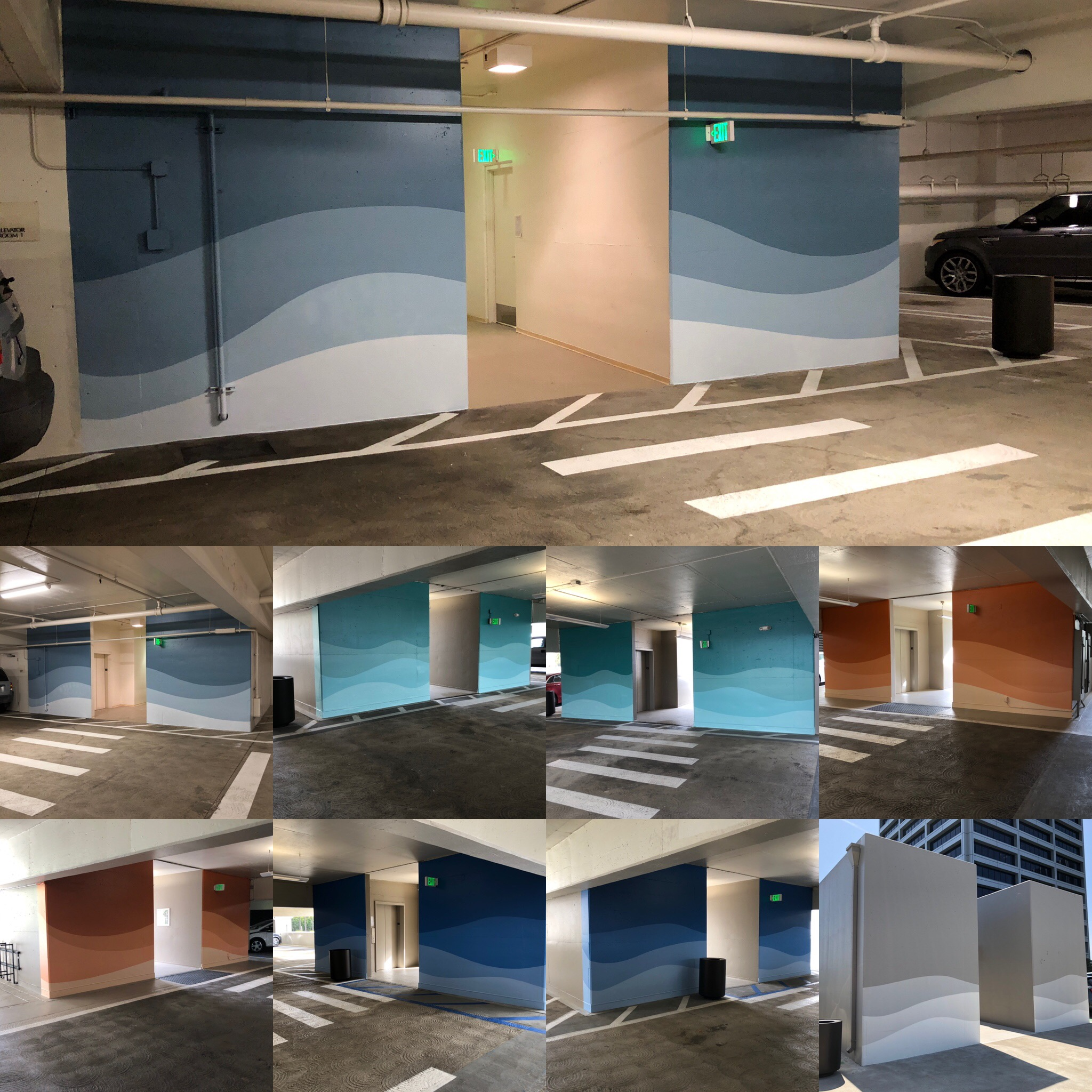 Hand painted graphics for parking structure way finding