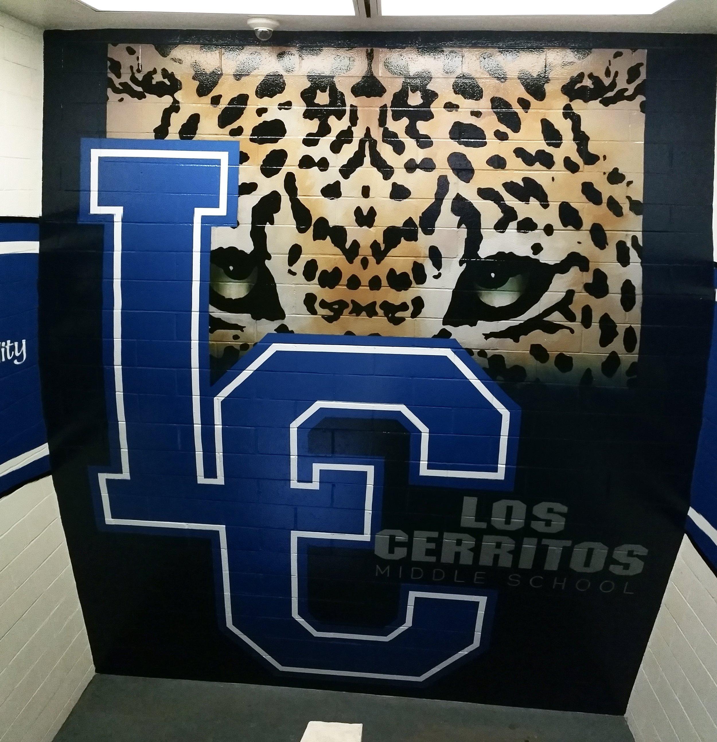 Los Cerritos Middle School hand painted mural