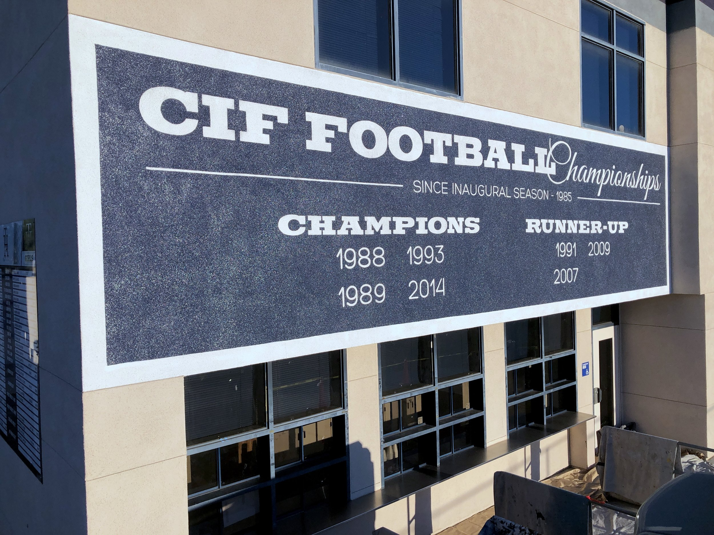 HAND PAINTED CIF FOOTBALL SCHOOL MURAL