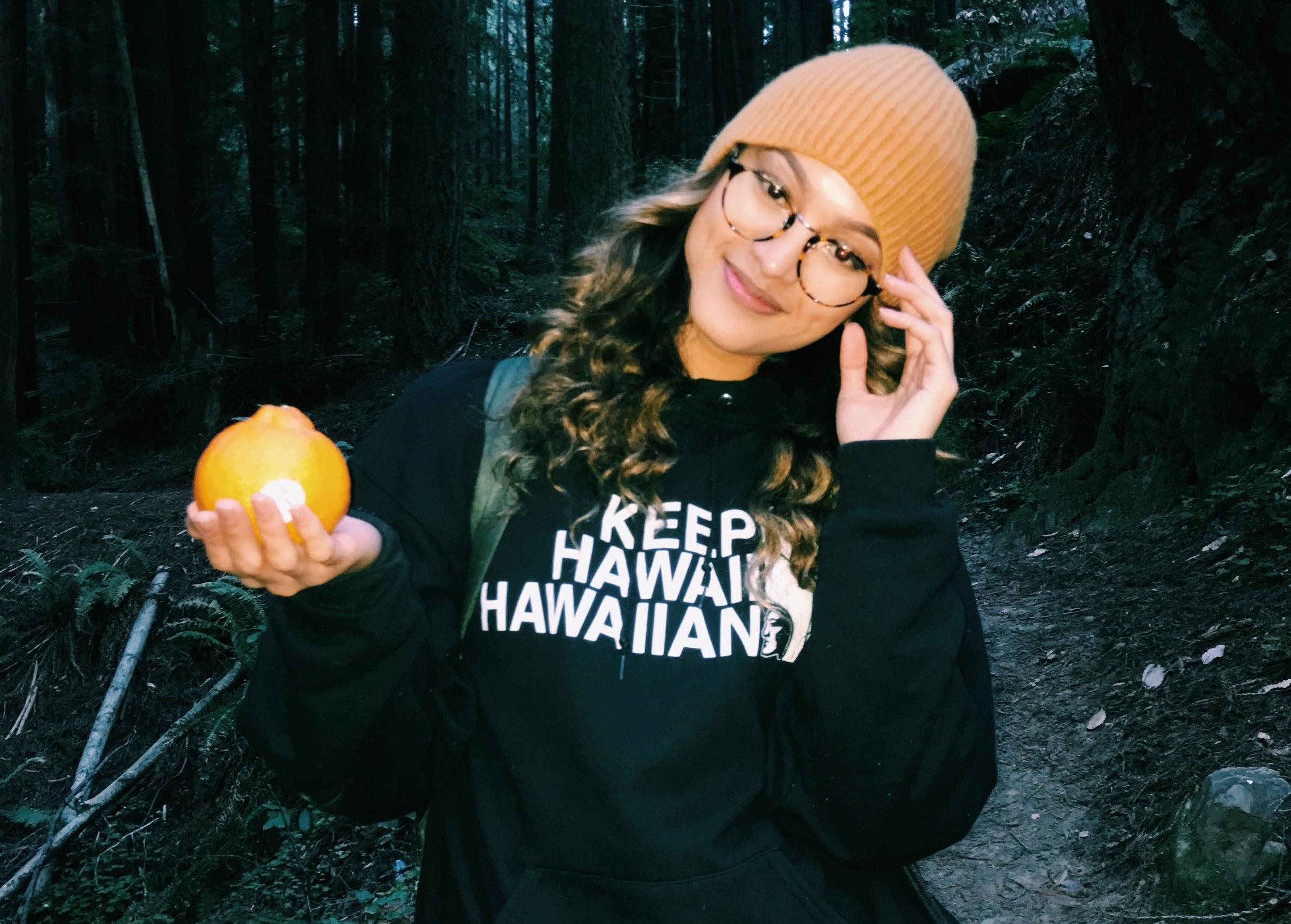 """Picture: Keani Hin sporting a """"Keep Hawaii Hawaiian"""" sweatshirt."""
