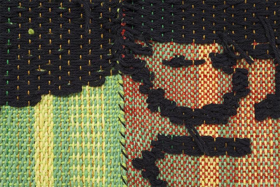 "woven cotton, acrylic, and nylon yarn | 71"" x 67"" | 2016"