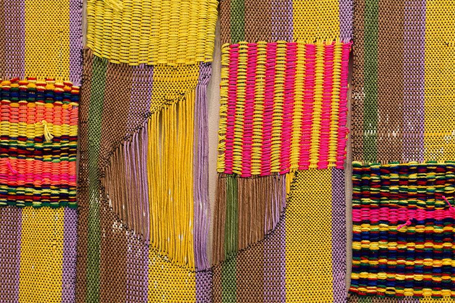 "woven cotton, nylon and acrylic yarn | 85"" x 30"" | 2014"