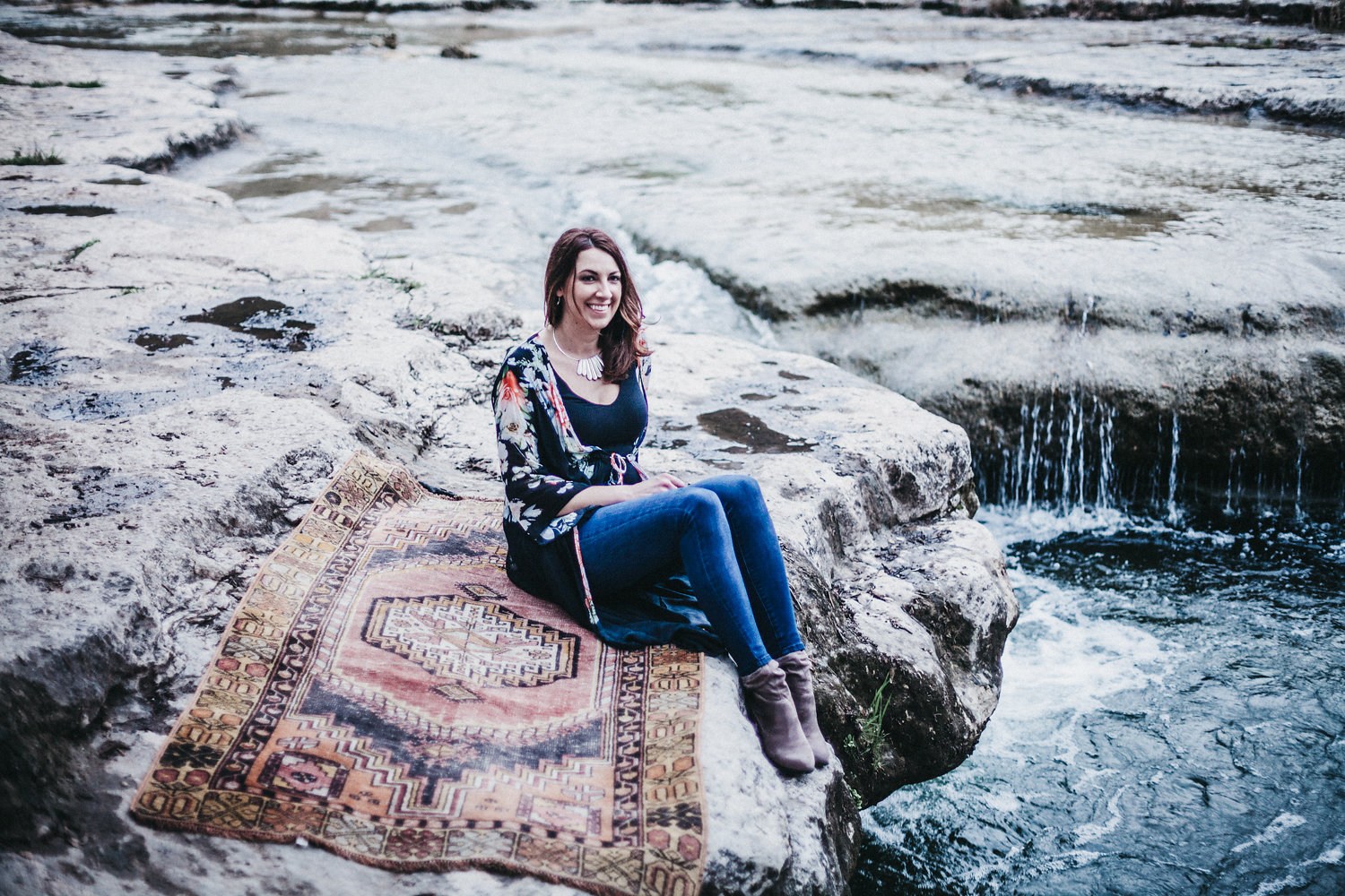 Alli Pozeznik, Owner of Austin Rug Co., enjoying time outdoors with  Ideology Photography .