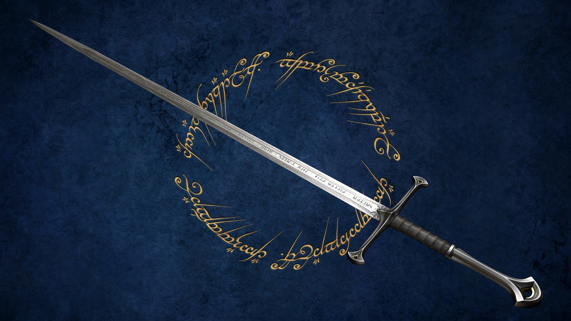 "The inscription reads: ""I am Anduril who was Narsil, the sword of Elendil. Let the thralls of Mordor flee me."""