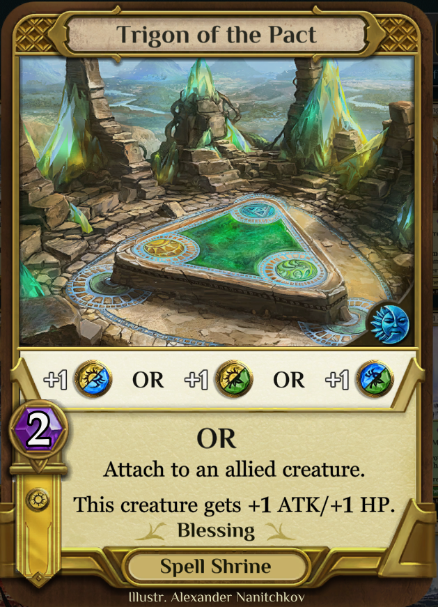 Shrines - These are the resource cards in your deck and come in three flavors. The first type is a basic shrine which gives you one unused mana and a card draw or an aspect. The second type is called a 'skill shrine' and will grant you an ability (capped at 3) or an aspect. The final type is a utility shrine which will grant you a split aspect or double aspect and have another effect as a spell.