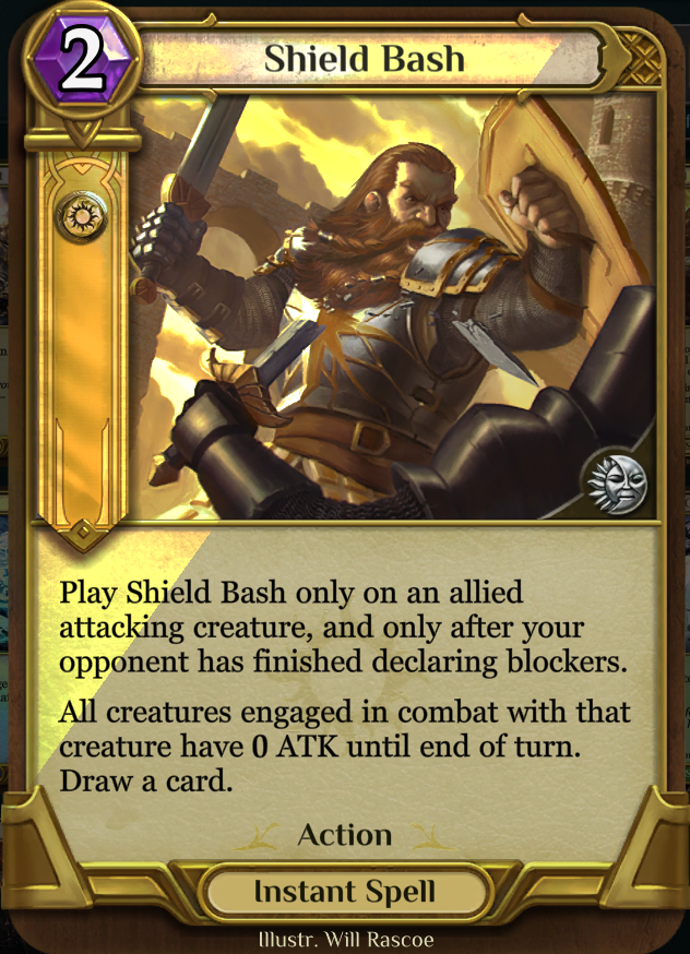 Shield Bash - This card doesn't see a lot of constructed play, watch out for in in Trials and Drafts.