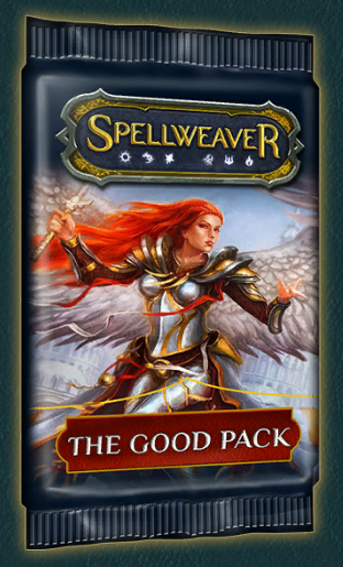 Good Packs - Cost: 17.5k gold or 140 crystalsAs quest reward: Yes (rare and epic quests)No. of cards: 10Pity timer: Yes (shared between normal, good, evil, premium packs)Rarity distribution and epic/heroic/foil chance: same as normal packNotes: - Good packs only contain cards of the good aspects (order, wisdom, nature) and evil packs only contain cards of the evil aspects (corruption, dominion, rage)- The shared pity timer allows you to somewhat min max epic and heroic drops, if you are looking for a specific card. By opening a good or evil pack on the 12th (48th) pack you can effectively double your chances of getting a specific epic/heroic card (compared to opening a normal pack).