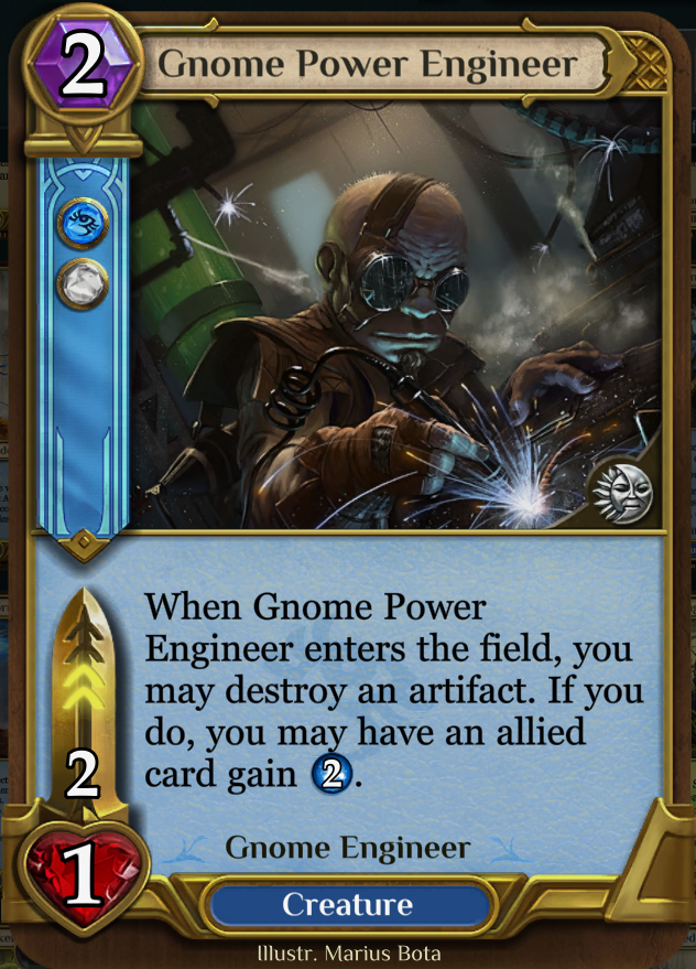 Gnome Power Engineer - The only artifact destruction in Blue, has energy synergy.