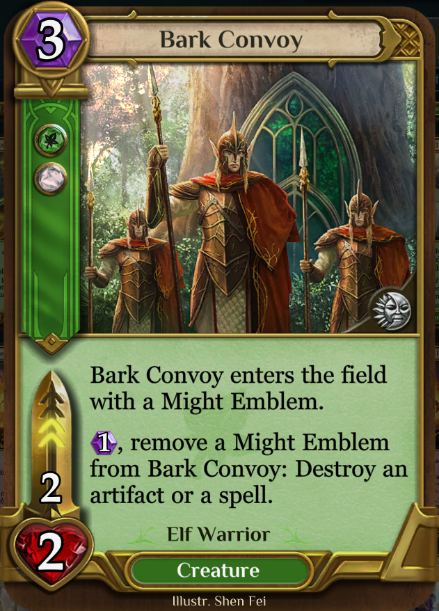 Bark Convoy - Destroys both artifacts and spells, synergy with might emblems/valor and elves.