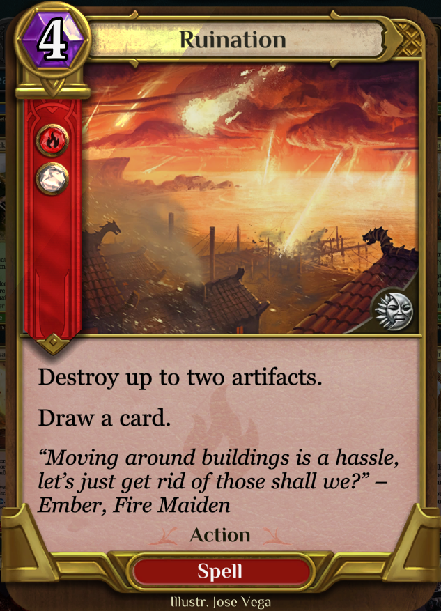 Ruination - Remove two artifacts with a cantrip.