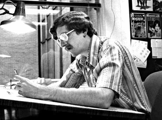 Working at DC Comics, 1979. Photo by Jack Adler