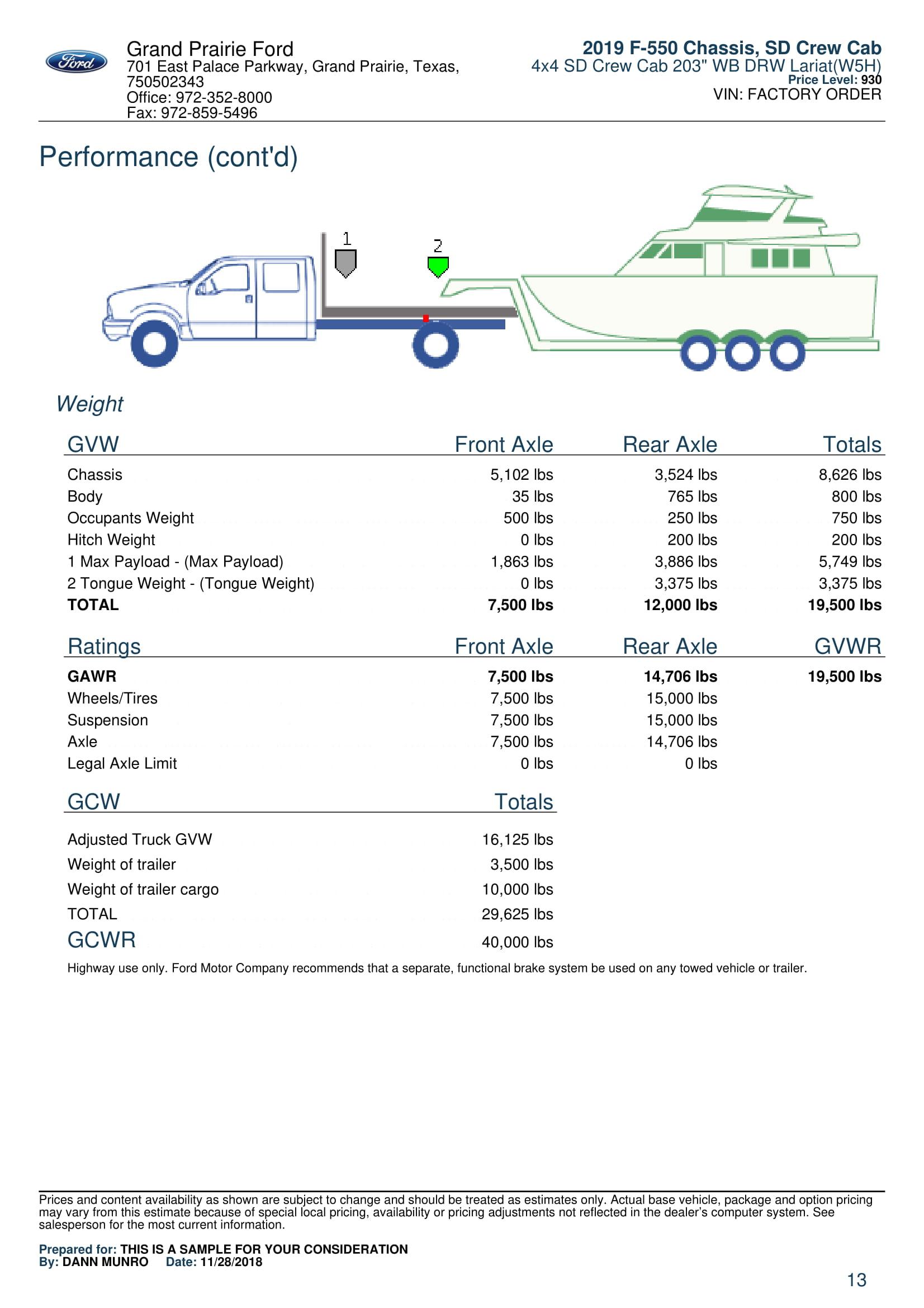 2019 F550 LARIAT CREW CAB For Sale