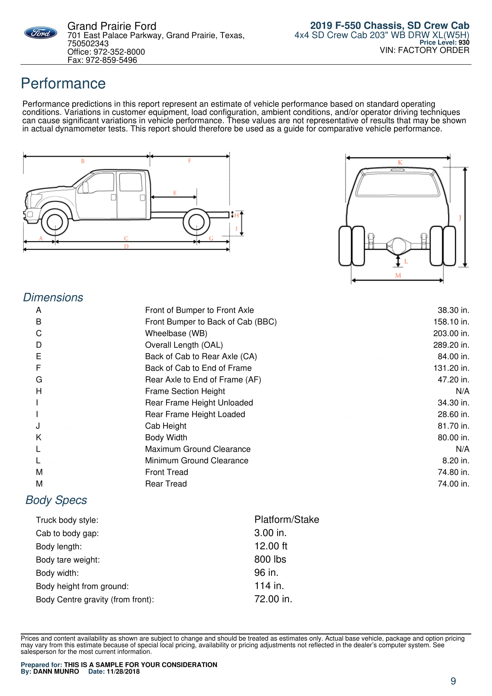 2019 F550 XL Crew Cab For Sale