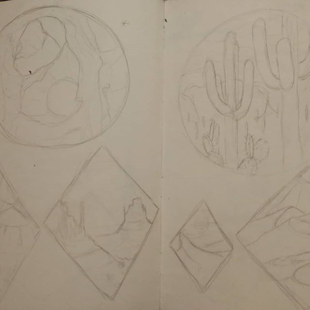 Some WIPS for my Desert Icon series, representing Arches National Park, the Sahara Desert, the Suguaro cactuses of the Southwest, and the Mesas of Monument Valley, respectively. 🏜️🏖️🌵 . . . #WIP #art #traditionalart #sketch #sketchbook #doodle #pencil #paper #icon #icons #artseries #desert #cactus #suguaro #arches #ArchesNationalPark #Sahara #SaharaDesert #MonumentValley #mesas #buttes #series