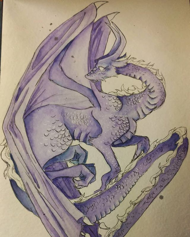 An old watercolor dragon I painted. There's no cool story or anything he's just super cool and I love him. . . . #WIP #art #traditionalart #paint #painting #watercolor #color #pen #ink #dragon #dragons #purple #cute #adorable