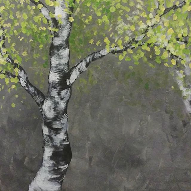 I know we've been missing for a while, I promise we have big things coming up on the horizon!! Mostly we've been working on that and taking a long-ish summer break after the stress of school 😌  Here's a cool tree I painted in 2017 at a Wine & Paint event, while you wait 🌳 . . . #art #traditionalart #paint #painting #acrylic #tree #forest #nature #birch #wineandpaint #drinkandpaint