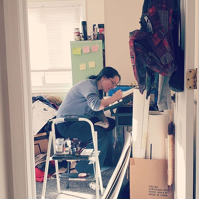 Working on those sweet sweet final arts before winter break. You know you're living the good life when you have to use a step ladder as an extra table . . . #art #traditonalart #artist #photograph #sneakpeek #behindthescenes #bts