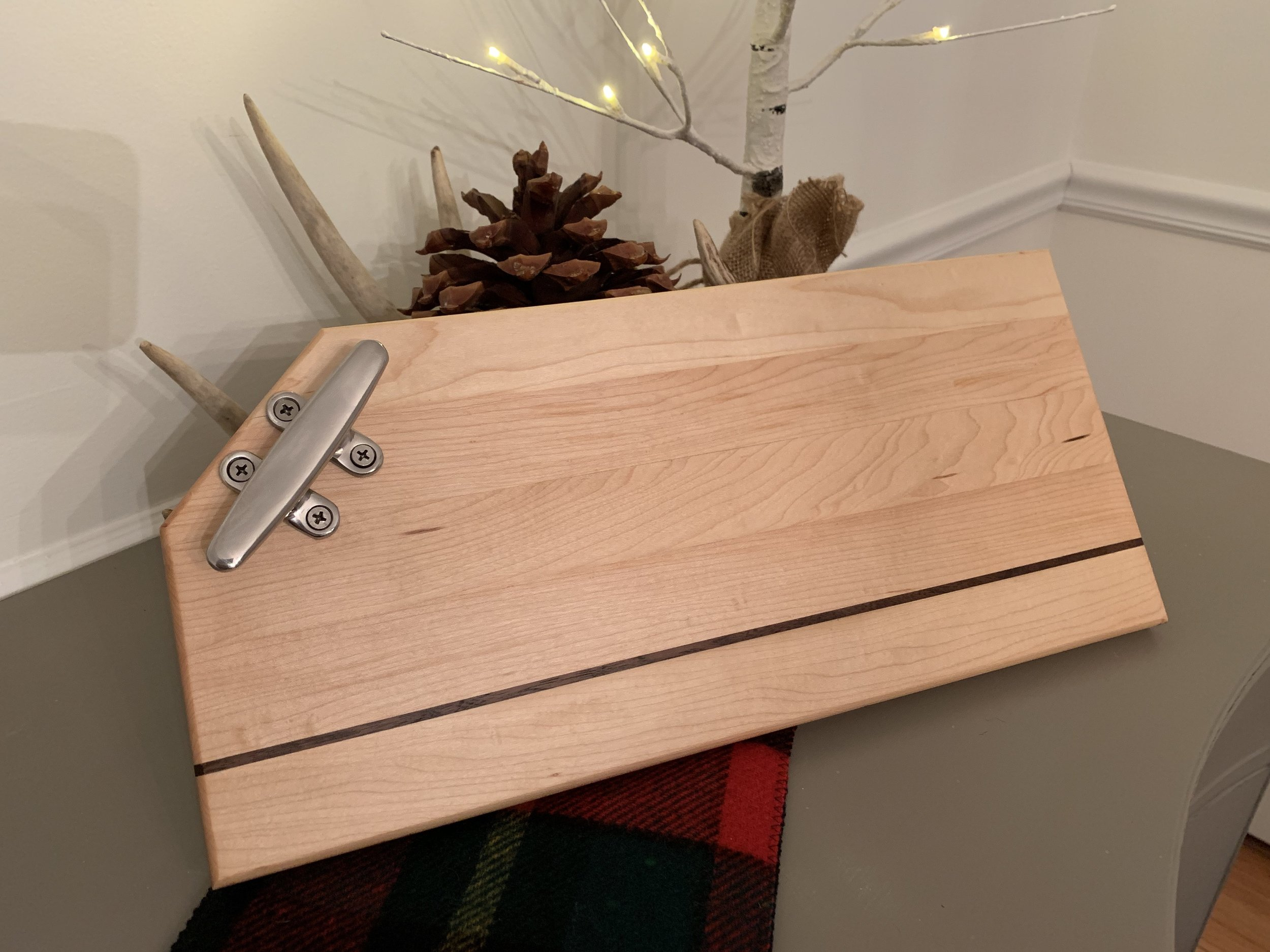Nautical Theme Maple Cutting Board (Walnut inlay). Handmade in Madison, Connecticut.