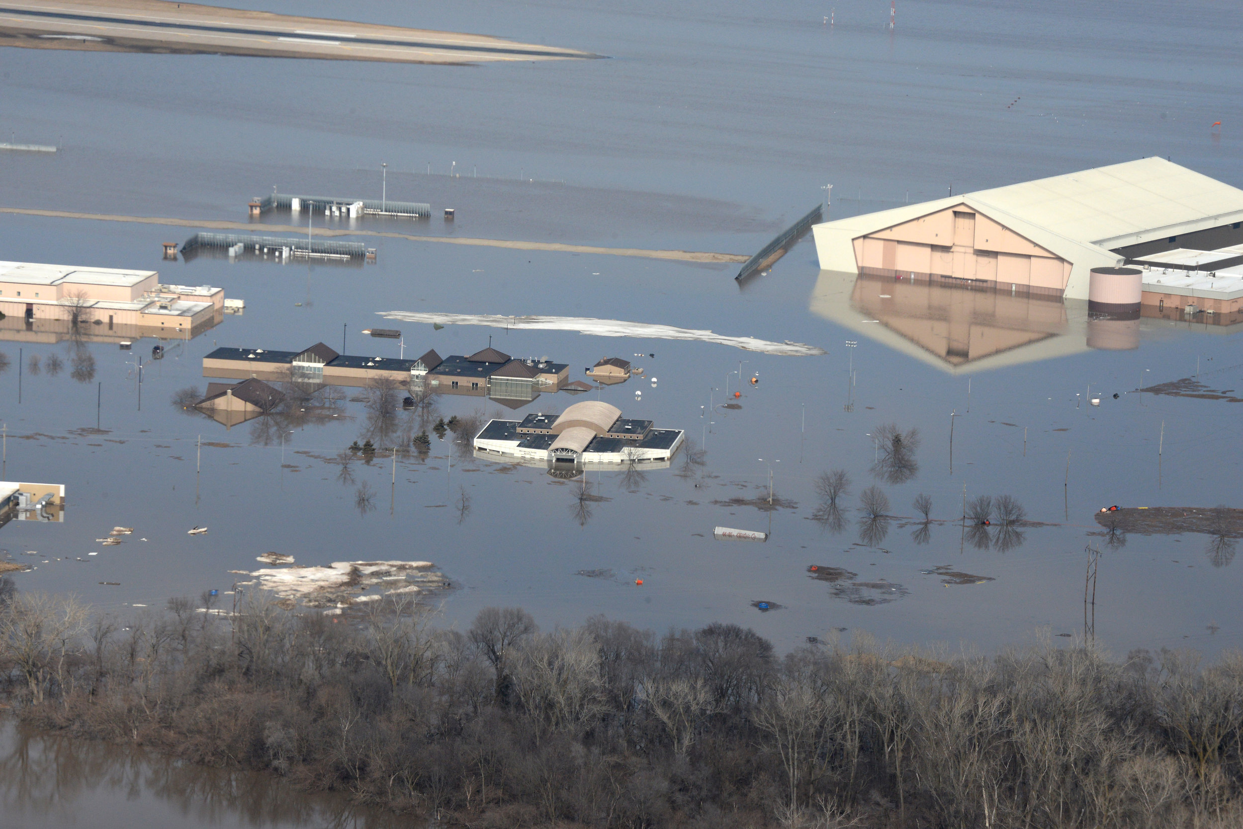 After the flood:  Much of Offutt Air Force Base, Neb., sits underwater after after the Missouri River overflowed earthen levees earlier this month. ( U.S. Air Force photo by Tech. Sgt. Rachelle Blake )