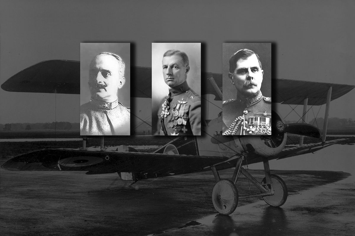 Early airpower theorists Giulio Douhet, Billy Mitchell, and Hugh Trenchard (photo illustration by U.S. Army War College)