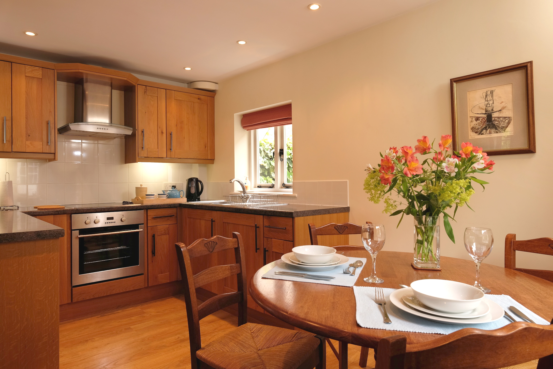 The kitchen diner is well equipped with modern appliances