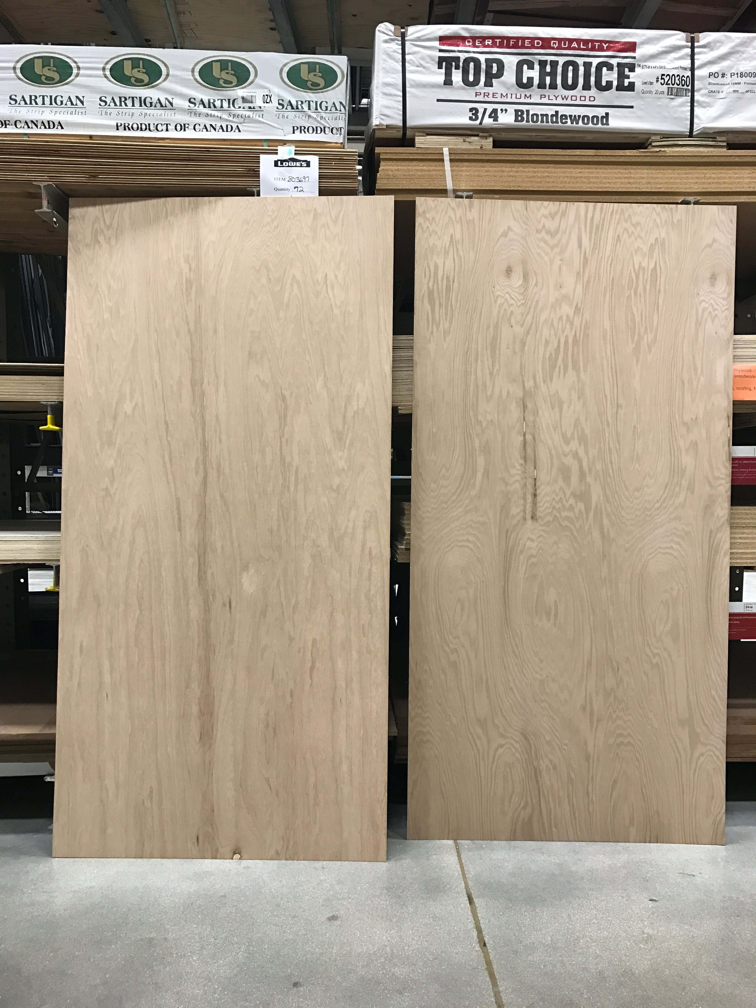 I chose the one on the left. I liked the grain- not too busy, but interesting and pretty.