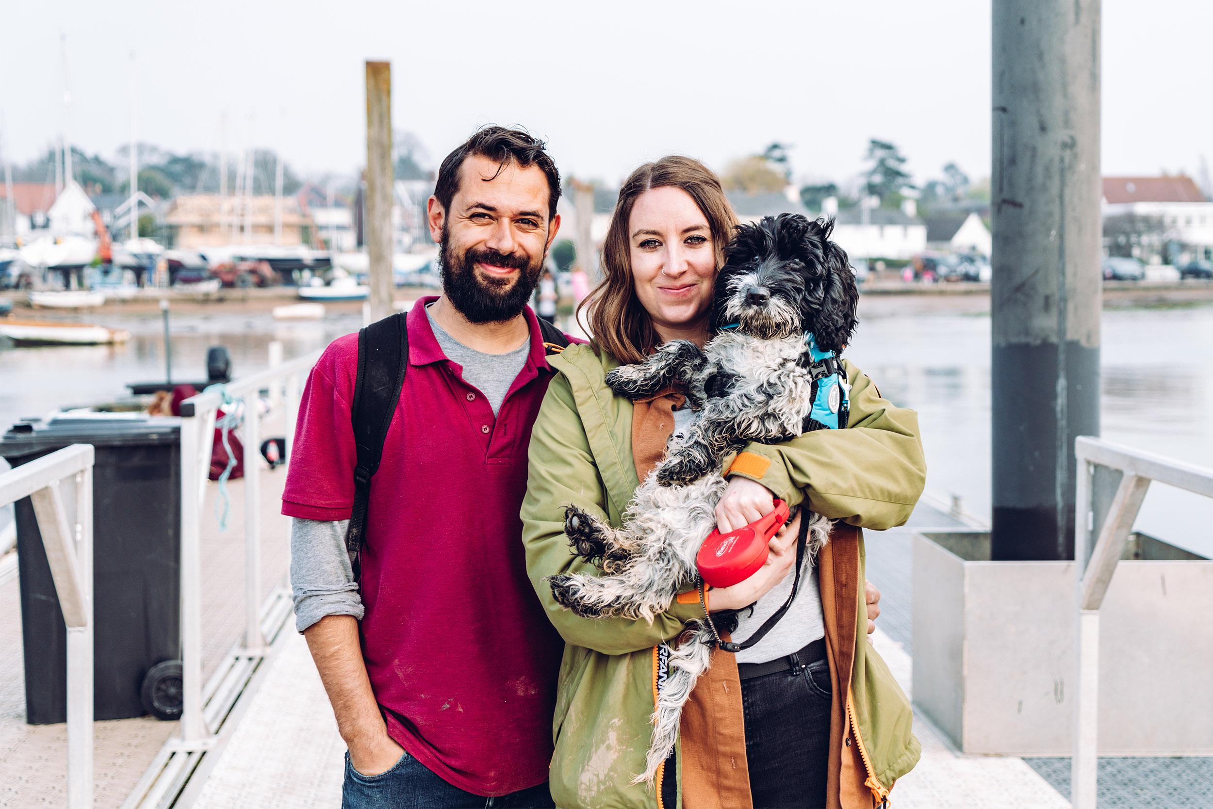 Gemma, her partner Tom and their puppy Hendricks