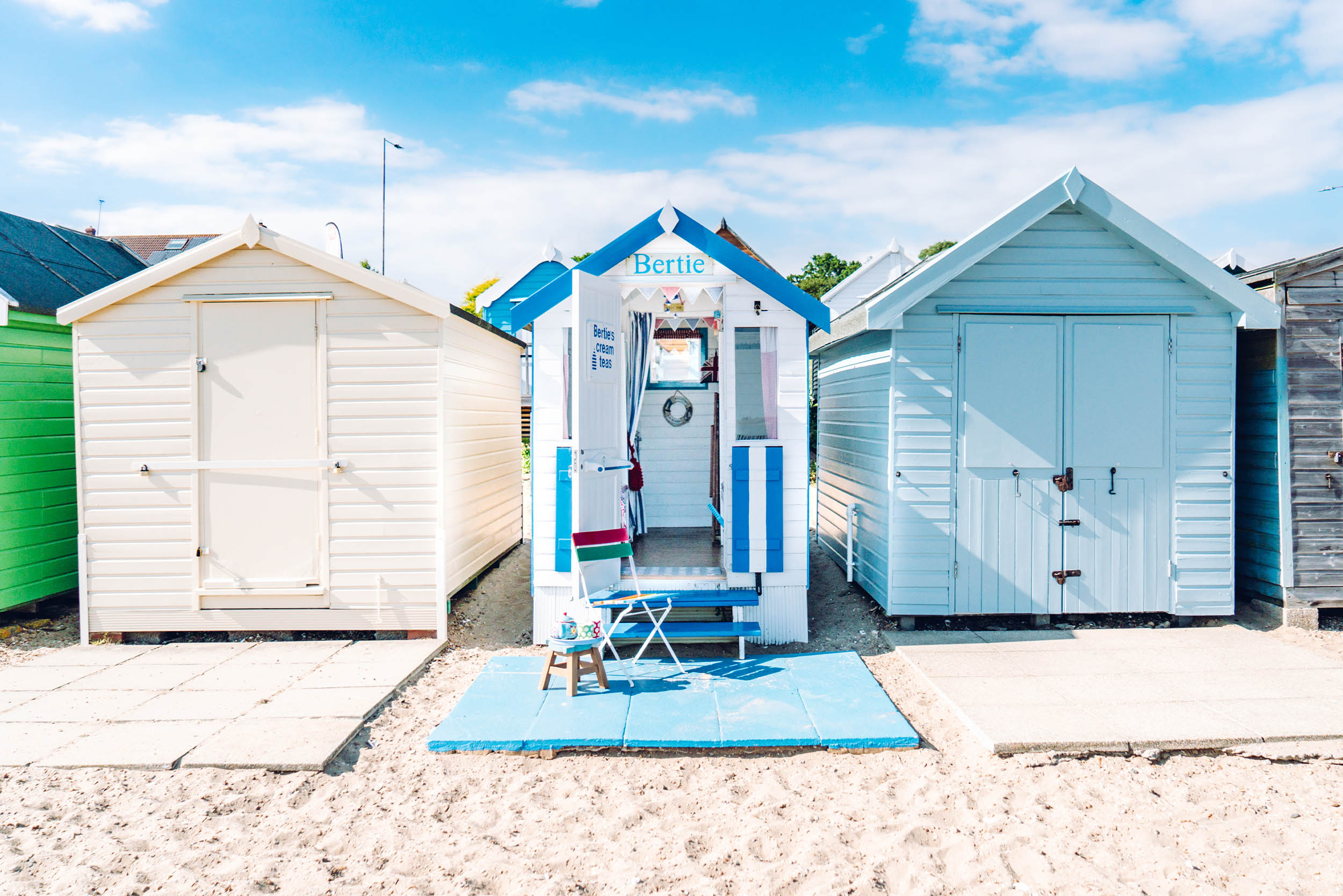 Bertie is a smaller hut but beautifully decorated in a quirky shabby chic style with a hardstanding base at the front and is very close to the cafe and the public conveniences