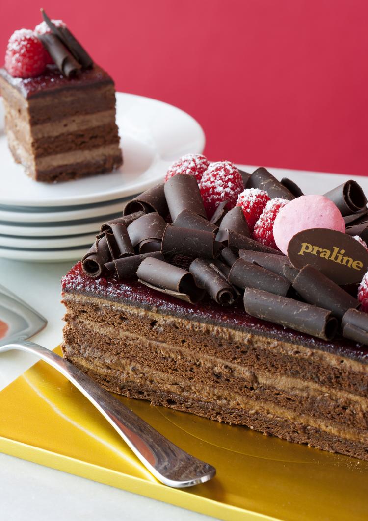 Chocolate Raspberry Pavé   Layers of chocolate cake, whipped chocolate cream and raspberry jam; garnished with homemade chocolate curls and fresh raspberries  42.00