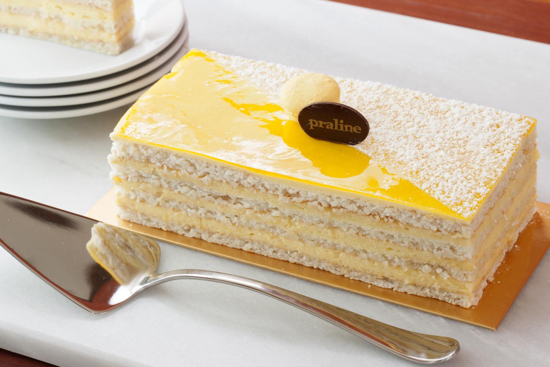 Lemon Almond Cake   Layers of flourless almond cake and lemon mousse  42.00