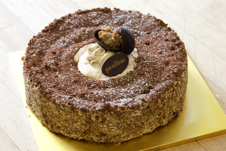 Walnut Dacquoise   Our signature cake! Walnut dacquoise layered with walnut mousseline and toasted walnuts  42.00