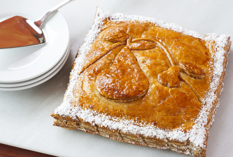 Pear Pithivier  Puff pastry filled with poached pears and Poire William infused almond frangipane  33.00