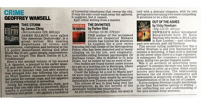 Rather fabulous to have my second book reviewed in the crime fiction section of @dailymail today, alongside writing hero, James Ellroy. A lovely write-up too.