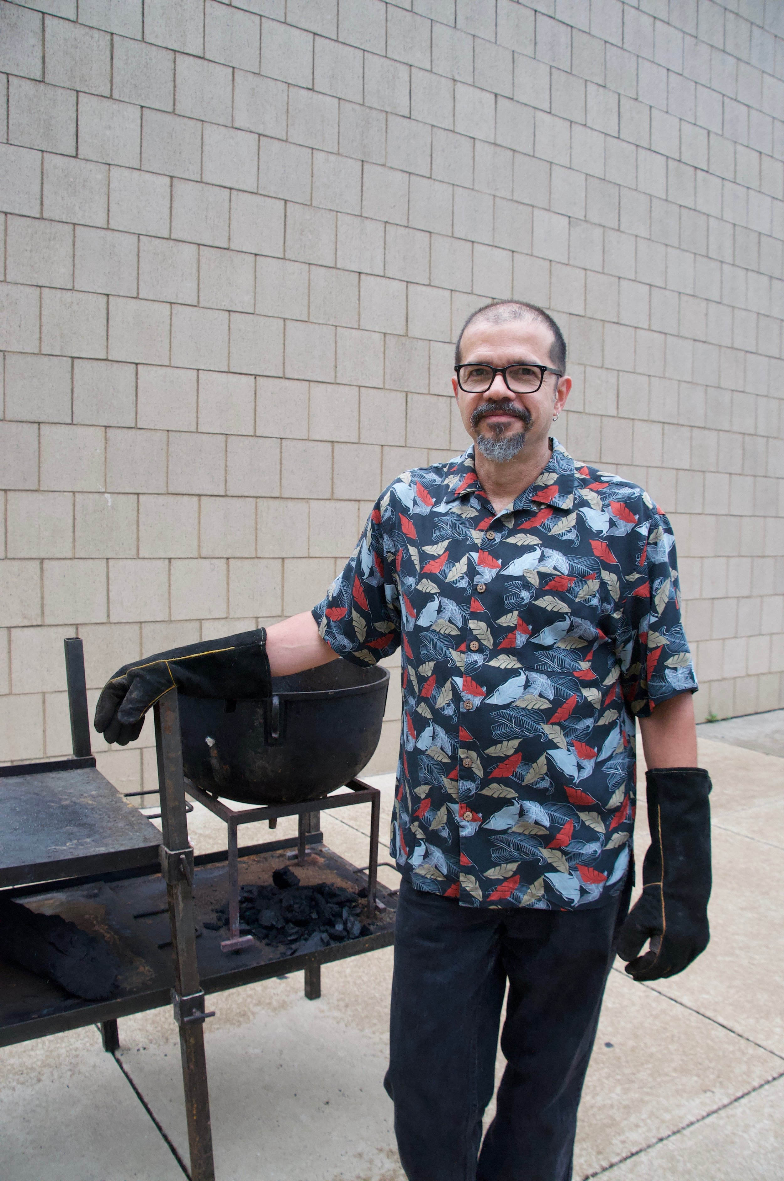 """Luis Laya, Venezula  """"In FireLab we cook to strengthen community, connect cultures, and celebrate creativity. We love sharing food and stories from our country (Venezuela) and elsewhere, building bridges between people and cultures using food as a universal language"""""""