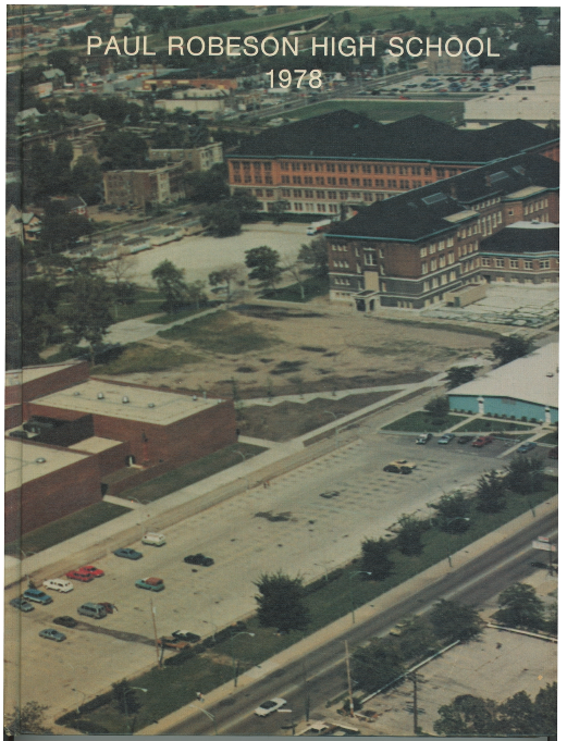 On the cover of Liz Chamber's 1978 yearbook shows Robeson High School, left, and Parker High School, right. Image courtesy of Liz Chambers.