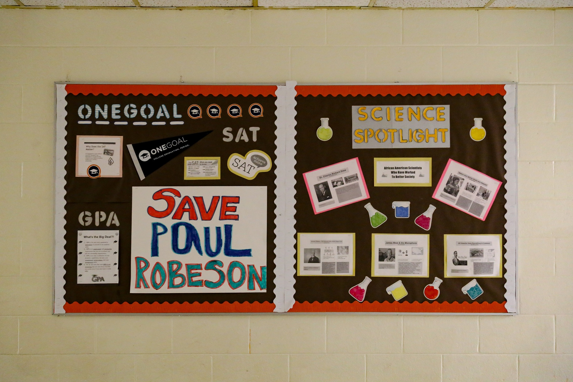 One of the many decorated bulletin boards that covered the many walls of Robeson High School before the building was closed and torn down. Photo: Olivia Obineme