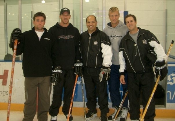 Copy of Frank coaching with Chris Drury, Glen Murray, Rob Blake, and Nelson Emerson