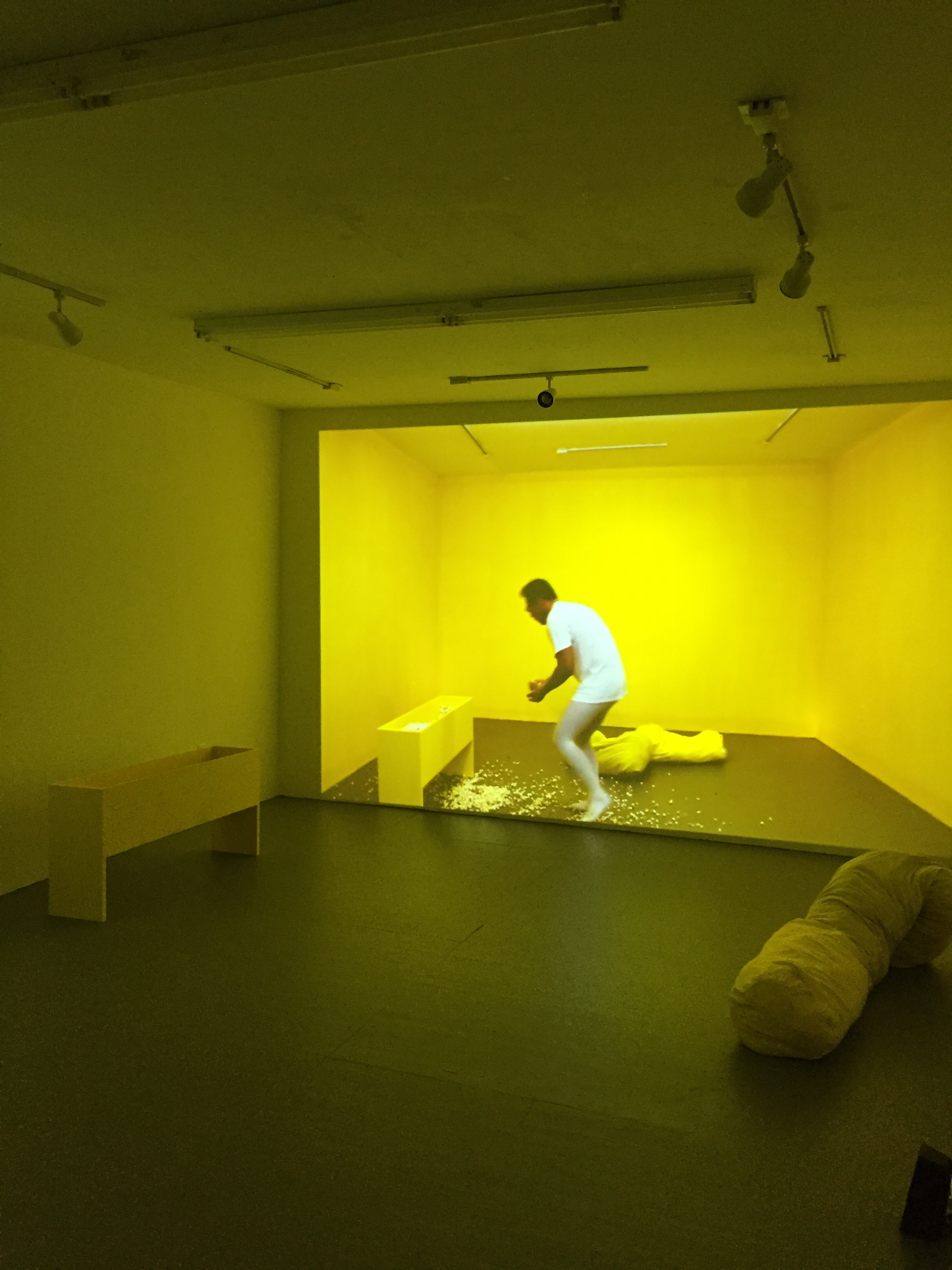 Yellow  (Installation photo) 2017. Artist, bean bag, popcorn. Dimension variable