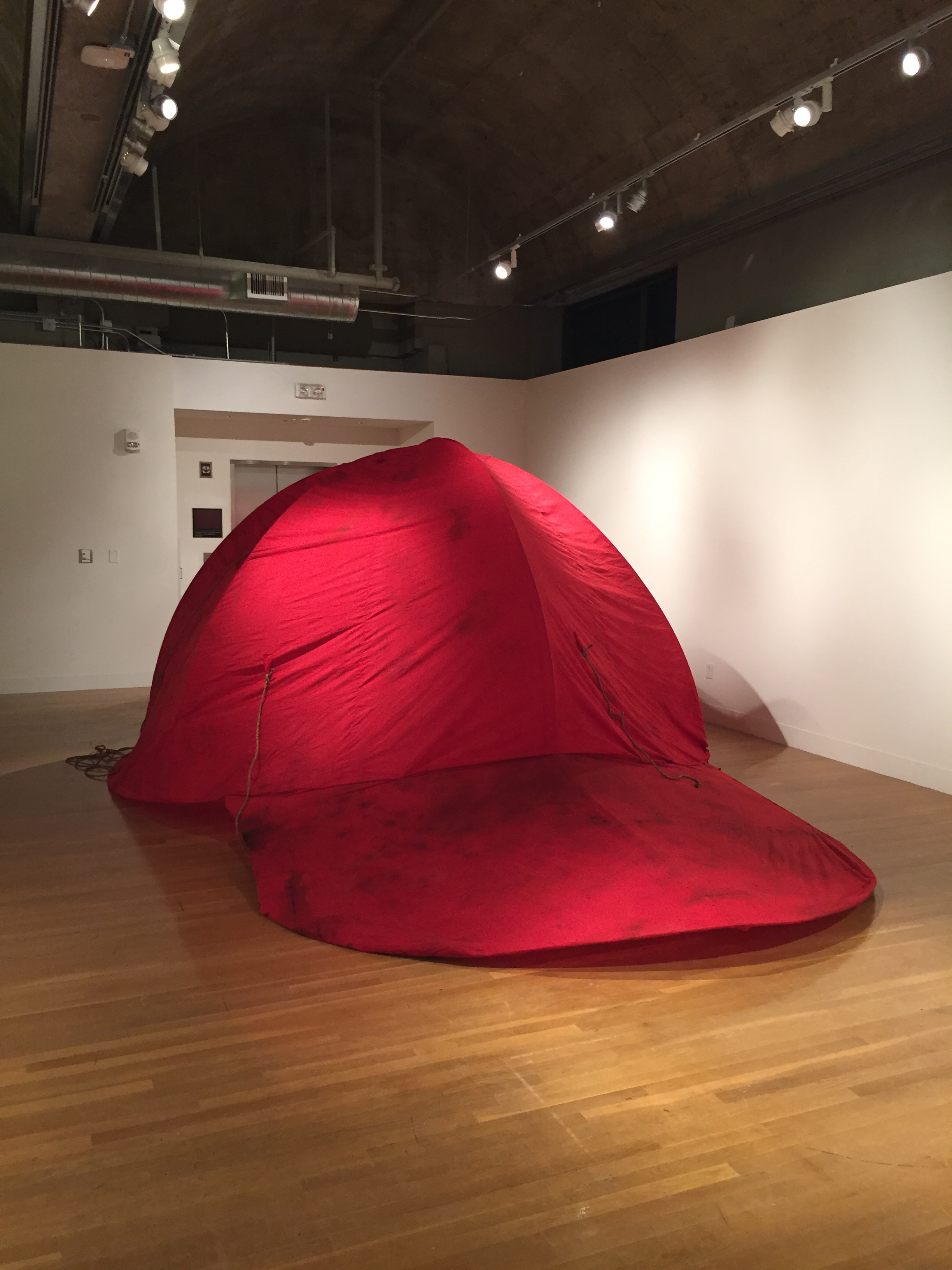 This cap is your cap (again)(in exhibition)  2017. Cotton, metal. 350cm x 350cm x 250cm