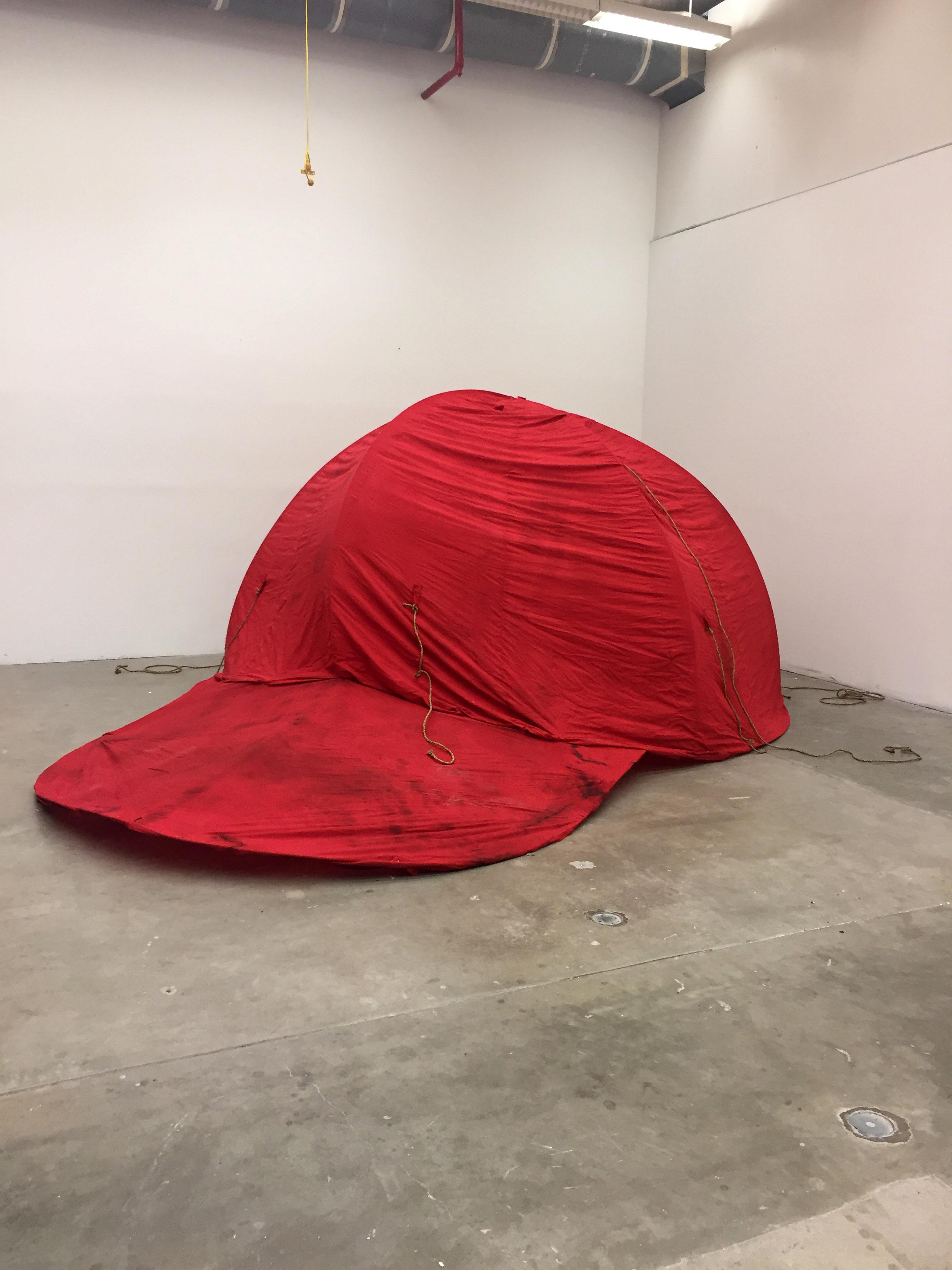 This cap is your cap (again)  2017. Cotton, metal. 350cm x 350cm x 250cm
