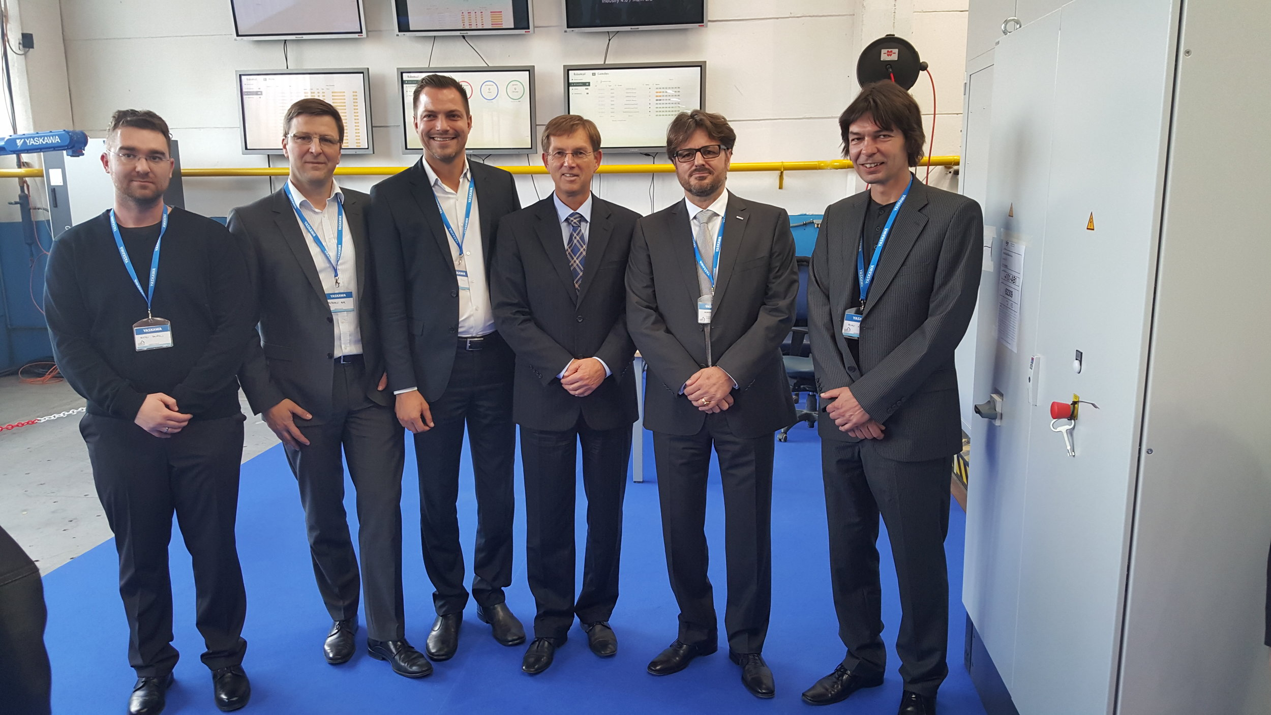 RoboticsX Team presenting Smart Robotics Solution at Yaskawa 100 Years AnniversaryMr. Hubert Kosler, Managing Director Yaskawa SloveniaMr. Miro Cerar, Prime Minister Slovenia -