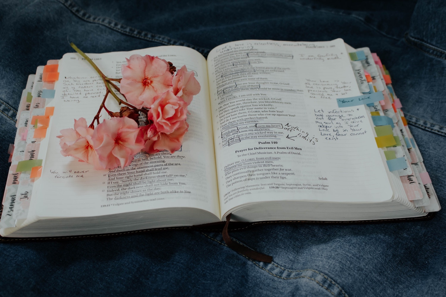 journaling-bible-with-tabs-and-flower