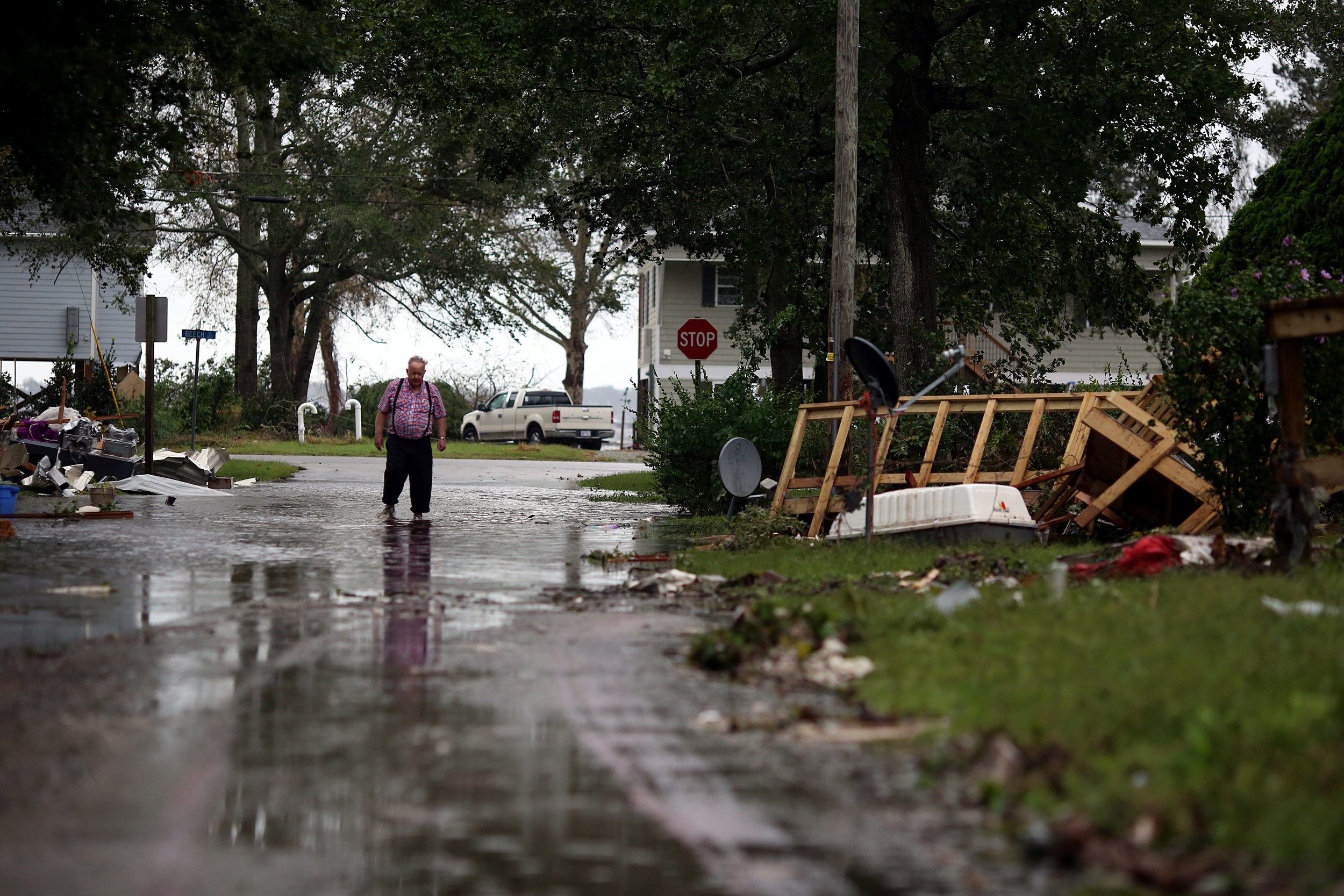 Buster Radford, 77, walks near his home, Sept. 15 in New Bern, N.C.