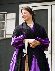 Mary Todd Lincoln PORTRAYED BY PAT JORDAN - Despite portraying a woman reviled in history, Pat Jordan's sensitive interpretation of Mary Todd Lincoln invites new understanding of this complicated and frequently-misunderstood woman. Pat's MTL is an intelligent, quick-witted woman in an almost impossible situation. Having married the man of her dreams, a man she knew was destined to become President, Mary Todd Lincoln was deemed a spy by the North and a traitor by the South. With relatives on both sides of the conflict, having lost a dear son, and being married to a man frequently depressed by death and destruction, MTL was under great emotional stress. She strove to love and support her husband even when he withdrew from her and from the world. She battled to create a White House that reflected her husband's stature, in a home whose position was right on the country's N/S border. And she endeavored to nurture her family during this time of civil war.Ms. Jordan is a natural choice for Mary Todd Lincoln. Pat's light hair, blue eyes, intelligence and lively sense of humor allow her easy access to this complex woman. Both women appreciate beautiful fabrics, delight in fashionable clothing and enjoy travel. Each loves children, inspiring by their own example.Invite Mary Todd Lincoln to events concerning literacy, mental health, First Ladies, Civil War:•Educational Programs: Programs for Schools, Libraries, Museums, Historical Sites Educational Program: Schools, Libraries, Museums and Historic Sites •Plays: My Dear Mrs. Lincoln, 45-minute play, plus Q & A Press Conference •Pair with Abraham Lincoln, Dolley Madison, Abigail Adams, Eleanor Roosevelt •Pat Jordan: Bio of Actor/Historian, Reenactor