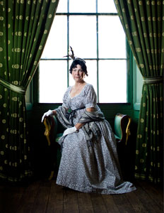 """Dolley Madison Portrayed by Elizabeth Michaels - Dolley Madison was born into a wealthy Quaker family who moved to Philadelphia to allow their daughter to be educated, perhaps at the Pine Street Meetinghouse. Dolley made great use of this education when President Thomas Jefferson, a widower, tapped her to fill the important, if unofficial, role of White House First Lady. A natural hostess, Dolley was able to converse and entertain guests from the United States and Europe at White House events. She was particularly adept at pairing the most unlikely people and sparking discussion. Dolley reprised this key role when her second husband, James Madison, became President. Her famous turban and feather acted as a lightning rod, enabling her 5'6"""" husband to find her in a crowd so they could compare notes and perspectives gleaned from their important guests.Dolley's ability to create rapport with her guests made her one of the most sought-after women of her time. Her wit, charm, education and popularity made her a trend-setter. She experimented with fashion, introduced ice cream to the United States, and hosted children's events, introducing the Easter Egg Roll at the White House."""
