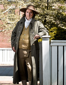 """Thomas PainePORTRAYED BY BOB GLEASON - Bob Gleason introduces us to Thomas Paine, the mouthpiece of the Revolution. A firebrand who traveled the world to speak out against injustice, Paine wrote in Common Sense that """"These are the times that try men's souls."""" His words inspired a tired and disheartened Colonial army of 4500 to continue fighting against a British army that numbered 30,000. This radical's writings, include The Rights of Man, a work urging political rights for all men because of their innate equality, and The Age of Reason, a deist manifesto. The impassioned author championed the causes of the individual and of the mind, but his works made their author little money.Outspoken, controversial, articulate and committed to social equality, Bob Gleason's Thomas Paine is certain to spark discussion and evoke spirited discussion."""