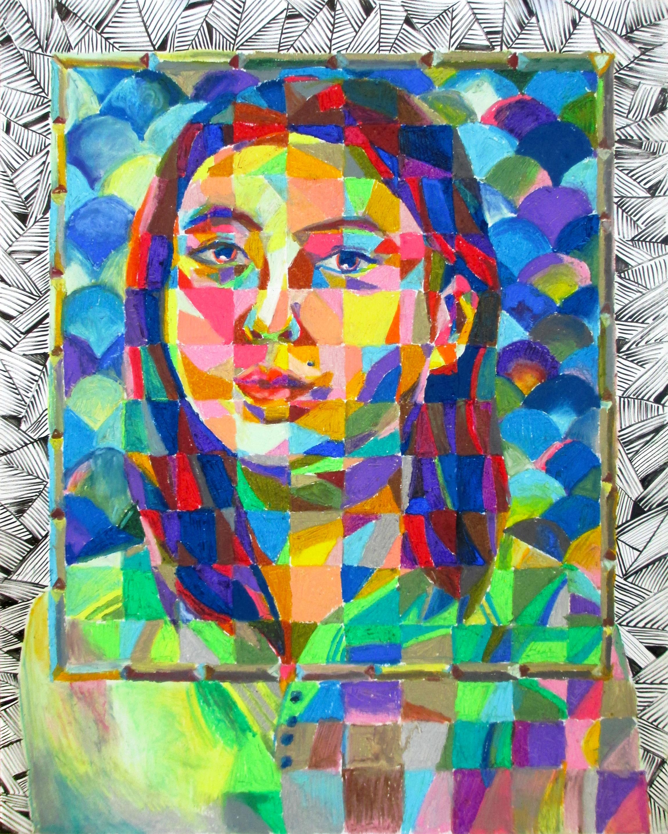 """Actuellement (self-portrait) , March 2016.  Oil pastels and pen on vellum, 19 x 24"""""""