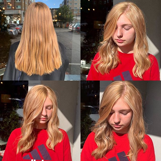 Brighter for this natural strawberry blonde. Full Blonde balayage on strawberry blonde base. Hair by @julielrapp  and help from @jennifer.henriques  #naturalbalayage  #strawberryblondehair  #balayage  #thecovesalonbellevue  #thecovesalon #labiosthetiquecolor