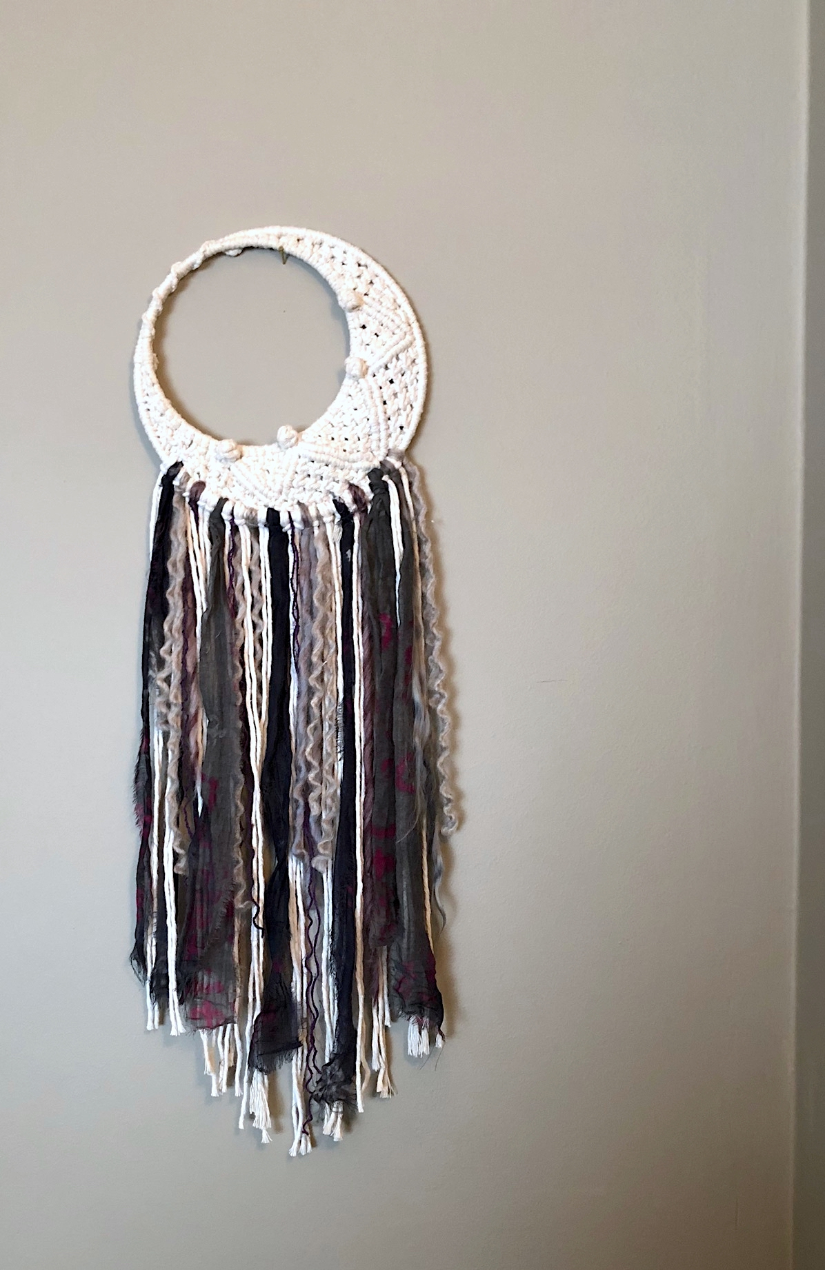 Large mixed-media half-moon dreamcatcher - sold