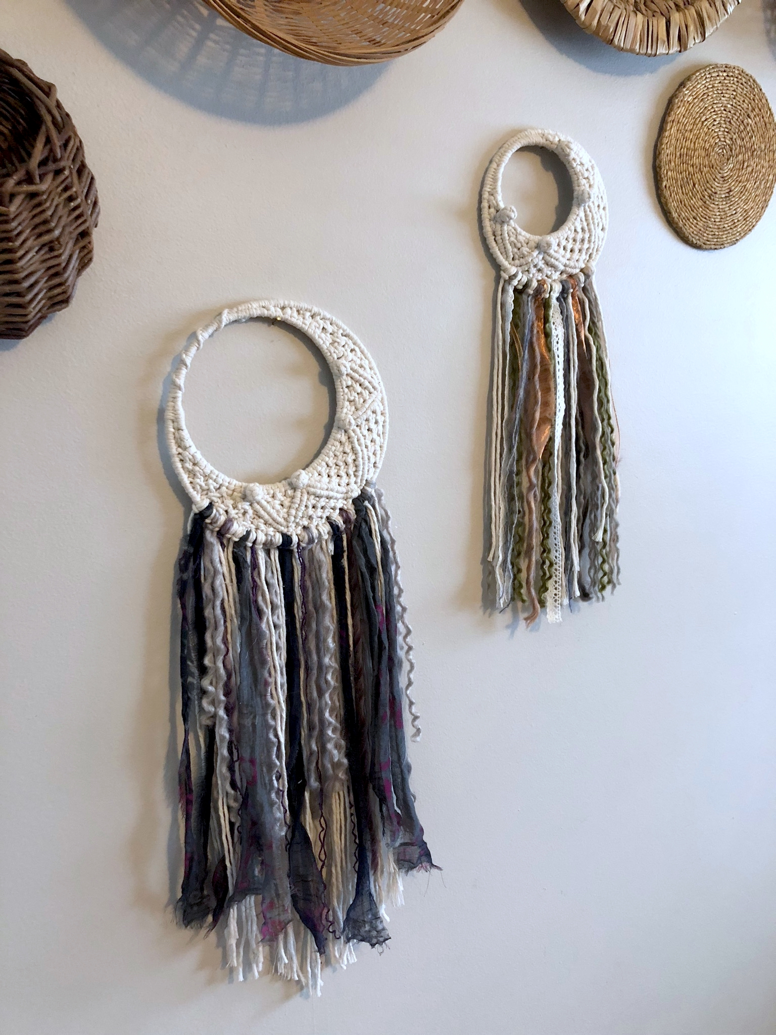 Something different to shake things up. Mixed Media half moon dream catchers. Large is sold, but mini is available! $65